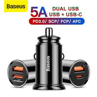 Baseus Quick Charger 4.0 USB Car Charger PD3.0 Type-C Adapter for Samsung iPhone