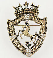 New vintage Gold Crown Horse Men Women Crystal Pin Sweater Scarf Clips Brooch