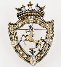 vintage Gold Crown Horse Men Women Crystal Pin Sweater Scarf Clips Brooch