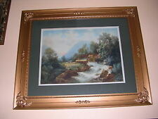 """TABER PRANG ART CO.1906 ANTIQUE  LITHOGRAPH """"SIGNED""""  WITH OLD WAVY GLASS."""