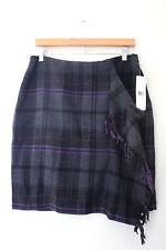 NWT LAUREN Ralph Lauren Designer Gray Black Plaid Wool Fringe Skirt 10 $198