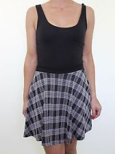 TOPSHOP grey black check plaid skater mini skirt size 10 euro 38