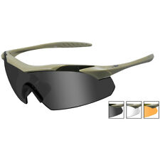 1b86d55fbac0 Wiley X WX Vapor Glasses 3 Changeable Lenses Hunting Shooting UV Matte Tan  Frame