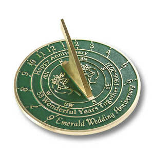 55th Emerald 2021 Wedding Anniversary Sundial Gift By The Metal Foundry