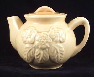 Old Brush McCoy Pottery Embossed Flower Individual Size Teapot USA 3F Vintage