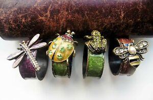 Set of 4 Vintage Enamel & Diamante Bug Napkin Rings. Dragonfly, Ladybird, Frog
