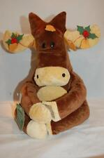 Moose Holly Bells  WT Holiday Christmas Brown Tan Feet Plush Stuffed Toy