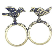 Vintage retro style 3D double sided bronze two dicky bird double finger ring