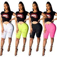 Women casual club broken hole bodycon stretch denim short pants trousers jeans