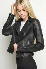 Brandy melville black faux leather Sunny Leather Moto Motorcycle Zip Up Jacket