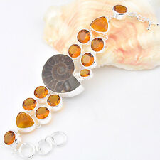 Natrual AMMONITE FOSSIL Honey Brazil Citrine Gemstone Silver Charm Bracelet