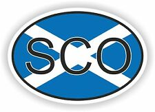 OVAL FLAG WITH SCO SCOTLAND COUNTRY CODE STICKER CAR MOTOCYCLE AUTO TRUCK