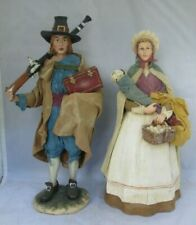 "Dept 56 Pilgrims Man and Wife w/ Child Cloth Clothing Thanksgiving Theme 12""+"