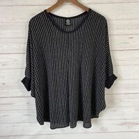 Bobeau 3/4 Dolman Sleeve Striped Pullover Blouse Size Medium Black Knit Cuffs