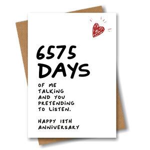 18th Anniversary Card 6575 Days of Talking Him Husband Boyfriend Wedding 18 year