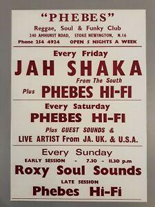 Reggae & Ska promo concert poster - Phebes club w/Jah Shaka 1970`s A3 reprint