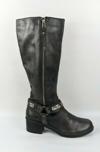 Next Dark Grey Leather Knee High Boots Uk 7 Eu 41
