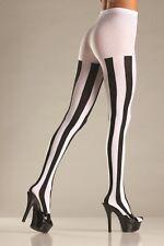 Donne Punk Rock Nero e Bianco a righe verticali Collant Collant FANCY DRESS