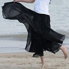 Women Double Layer Chiffon Pleated Retro Long Maxi Dress Skirt Beach Holiday