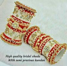 Rajwadi Pearl Wedding Dulhan Set Kundan Chura Bridal Bangle Red Acrylic Plastic