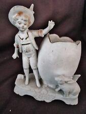 ancien vide poche-oeuf-porcelaine-biscuit-jeune garçon et lapin-germany 2167
