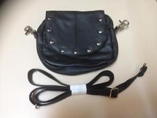 Black Leather Studded Hip Bag Shoulder Bag Purse Biker Motorcycle Fanny Pack