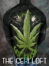 Mens Graphic T-Shirt Black Gold Foil Pot Leaf Got Kush Weed Slim fit