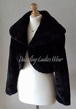 Black Faux Fur Bolero Jacket/Shrug/Stole/Shawl/Wrap Satin Lined Long Sleeves ///