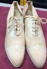 Vintage Ladies Neolin Brand Lace Up Chuncky Heel Shoe W/Leather Trim