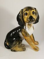 Rare Vintage Hunting Dog Puppy Hand Painted Ceramic Figurine Made In Italy ~11""
