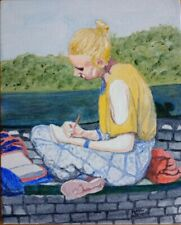 """Girl on a Park Bench - original 8""""x10"""" signed acrylic painting by Phil Archer"""