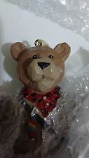 "Vintage Ceramic Brown Bear with Fly Rod Fishing Pole and Fish 9"" Wind Chime #497"