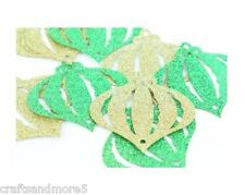 20 x Gold & Green Glitter Ornament Shapes ~ Great for Crafts