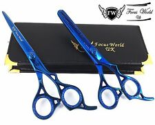 Professional Barber Hair Cutting Thinning TITANIUM Scissors Set Hairdressing 7""