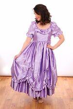 80S VINTAGE BRIDESMAID DRESS purple satin ruffle princess bridesmaid dress