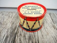 New ListingVintage Remember Pearl Harbor Tin Litho Drum Bank U.S. Savings Bonds Ohio Art