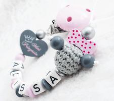 Schnullerkette mit Namen Mädchen ❤ MINI Prinzessin Baby MAUS grau rosa Nuckel