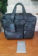 TUMI ALPHA BLACK NAPA LEATHER WHEELED DELUXE EXPANDABLE CARRY ON  BRIEFCASE
