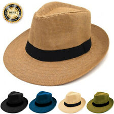 Gelante Mens Womens Summer Sun Wide Flat Big Brim Fedora Panama Straw Hat Cap