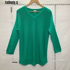 Talbots  Sweater Green Cable Knit V Neck Cotton