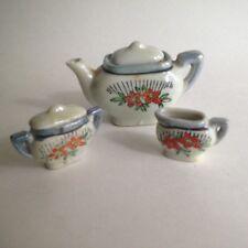 VTG Miniature Tea Pot Sugar Bowl Creamer Set Ceramic Japan Blue Orange Floral