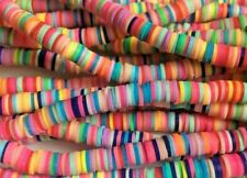 500 x Multi Coloured Heishi Flat Round Spacer Beads - Size 6x1mm. (1p per bead)
