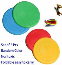 """2 Pcs Soft Rubber 7"""" Silicone Frisbee Flying Disk Dog Pet Training Fetch Toy"""