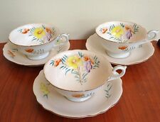 SET of 3 Pairs Vintage Royal Sealy Floral Cup-Saucer Made in Occupied Japan