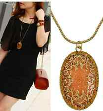Vintage Brown Amber Hollow Long Pendant Necklace Chain Sweater Jewelry Gift