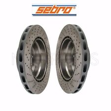 NEW Porsche 911 930 Pair Set of 2 Vented and Drilled Disc Brake Rotors Sebro