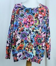 Jessica London Size 22/24 Bright Floral Cardigan Sweater 100% Cotton
