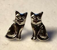 Stainless Steel Silver Cat Post Earrings