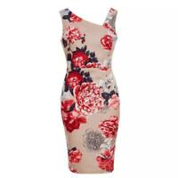 NEW RRP £29.99 Quiz - Stone Floral Asymmetrical Shoulder Midi Dress       (B140)