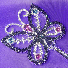 Butterfly Fairy Wand with Gemstones w/Black Glitter Party bag gift Concert